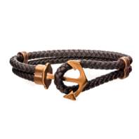 Inox Men's Brown Leather with Cappuccino Plated Nautical Anchor Bracelet