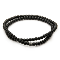 Inox Men's Black Onyx Stone Beaded Bracelet with Stainless Steel