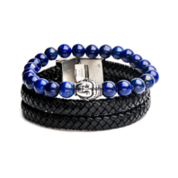 Inox Men's Lapiz Bead and Double Black Leather Stackable Bracelets Stainless Steel