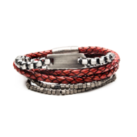 Inox Gunmetal Red Leather Hematite Stackable Bracelets Stainless Steel