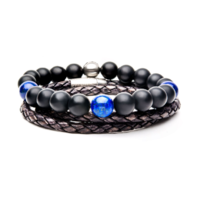 Inox Men's Onyx Lapiz and Grey Leather Stackable Bracelets Stainless Steel