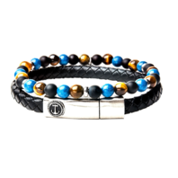 Inox Men's Onyx Tiger Eye Black Leather Stackable Bracelets Stainless Steel