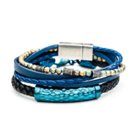 Inox Men's Multi Blue Leather and Hematite Bead Stackable Bracelets Stainless Steel
