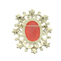 Rhinestone Bling Round Cameo with Red Accents Pin Brooch Broach