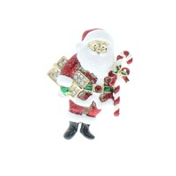 Rhinestone Santa Claus with Gifts Christmas Rhinestone Pin Brooch Broach