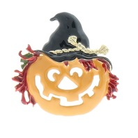 Pumpkin with a Witch's Hat Jack-o-lantern Orange Pin Brooch Broach