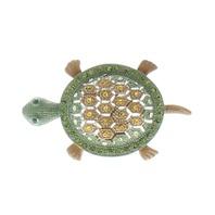 Rhinestone Green and Amber Turtle Rhinestone Pin Brooch Broach