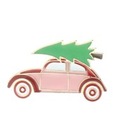 Volkswagen Beetle with a Pine Tree Hippy Pin Brooch Broach