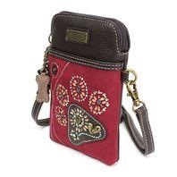 Charming Chala Burgundy Paw Print Cell Phone Purse Mini Crossbody Bag