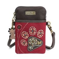 Charming Chala Burgundy Paw Print Cell Phone Purse Mini Crossbody Bag