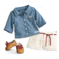 American Girl AG Tenney's Picnic Outfit for 18' Dolls New in the box Shoes