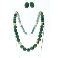 Green and Gold Tone Beaded Vintage Necklace And Clip Earring Set