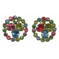 Vintage Clip On Non-Pierced Coro Round Pastel Rhinestone Earrings - Estate Find