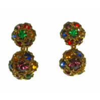 Vintage Screw Back Non-Pierced Czechoslovakia Rhinestone Earrings - Estate Find