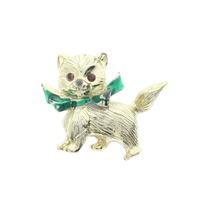 Kitten Kitty Cat Gold tones and Rhinestone Bling Pin Brooch Broach