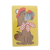 Vintage French Puppy Dog  Sealed Package Deck of Playing Cards Plastic Coated