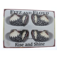 Fitz & Floyd Rise and Shine Knife Rese Chicken Hens Red White and Black