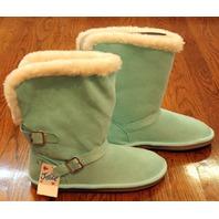Justice Girls New Sz 6 Magic Mint Fur Lined Aqua Buckle Boots