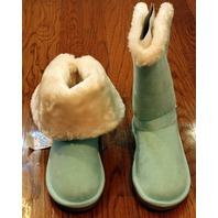 Justice Girls New Sz 6 Magic Mint Fur Lined Aqua Buckle Boots