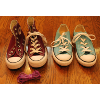 Girls Sz 3 Converse Shoe Lot New Aqua & Burgundy Hightop ties