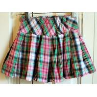 Girls Hartstrings Sz 5 Plaid Pleated Skirt Skort Green Pink