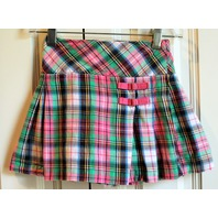 Girls Hartstrings Sz 5 Plaid Pleated Skirt Skort Green Pink