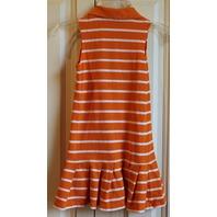 Girls Hartstrings Sz 6 Orange White Stripe Pleats