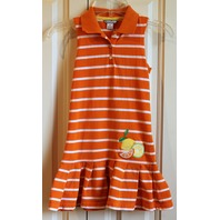 Girls Hartstrings Sz 6 Citrus Orange White Stripe Pleat Dress