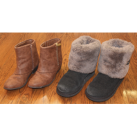 Girls UGG Boots Lot Sz 3 Black Gray Fur Jess Simpson Sz 4 Brown Zip