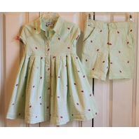Girls Hartstrings Sz 4T Ladybug Dress & Shorts Lot Green White Stripe