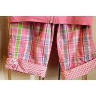 Girls Flapdoodles 3 pc Lot Plaid Pants Pink Zip Top Tee Sz 3T
