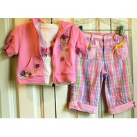 Girls Flapdoodles 3 pc Lot Plaid Pants Pink Zip Top Tee Sz 3T