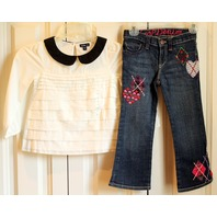 Girls Baby Gap Lot New Sz 4T Long Sleeve Blouse NWT & Denim Apple Jeans