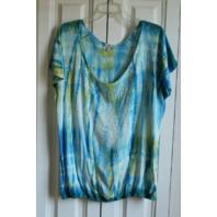 Reba USA Sz XL Sparkle Rainbow Top Shirt