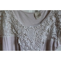 Womens Day Trip USA Soft Pink White Lace Sz S Short Sleeve Top