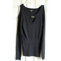 Womens XOXO Sz M Black Ribbed Cold Shoulder Sweater