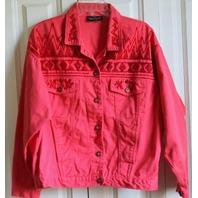 Carole Little Womens  Sz 10 Stylish Pink Beaded Denim Jacket