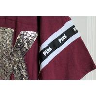 Victorias Secret Pink NWT Sz XS  Cranberry Sequins VNeck Tee