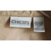 Womens Chicos Cargo Full Zip Jacket Khaki Beige Sz 2 Short Sleeve
