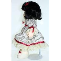 Precious Moments Classic Doll Maggie Zene Classifieds Dress Newspaper Print