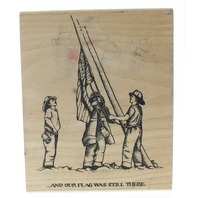 Peddler's Pack Fireman And the Flag was Still There USA Wooden Rubber Stamp