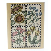 Hero Arts Checkerboard Garden Flowers Botanical Sunflower Wooden Rubber Stamp
