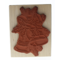 Creations Unlimited Holiday Bells and Holly Wooden Rubber Stamp