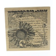 Stamp Out Cute Sunflower Romantic Garden Letter Collage Wooden Rubber Stamp.