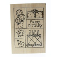 Imaginations Happy Birthday Gift Cake Balloons Hat Collage Wooden Rubber Stamp
