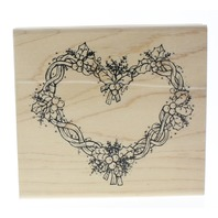 Jrl Design Holly Berry Heart Wreath Wooden Rubber Stamp