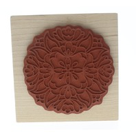 Holly Berry House Floral Garden Medallion Wooden Rubber Stamp