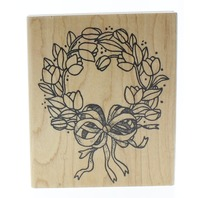 Azadi Earles Tulip Wreath with Large Bow Wooden Rubber Stamp