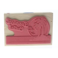Stampabilities Tropical Cutie Palm Tree Snoopy Woodstock Peanuts Wooden Rubber Stamp