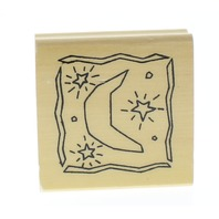 Anita's Moon and Stars Celestial Scene Wooden Rubber Stamp